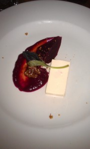 The goats' cheese with pickled beetroot, preserved walnut and fennel dust.