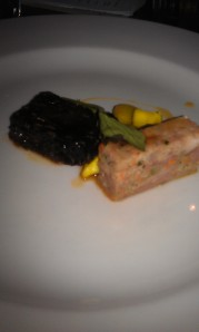 Black pudding and spiced terrine- earthy, meaty and delicious