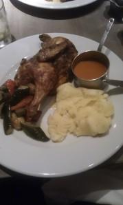 My half rotisserie chicken with three sides.