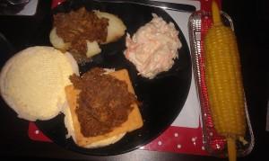 Pulled pork sandwich dinner
