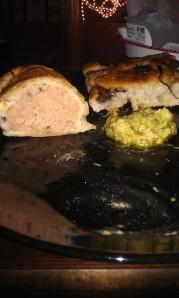 Meaty sausage roll, lemon houmous, focaccia