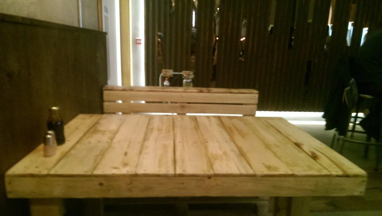 Pallet tables at Smoke BBQ, Sheffield