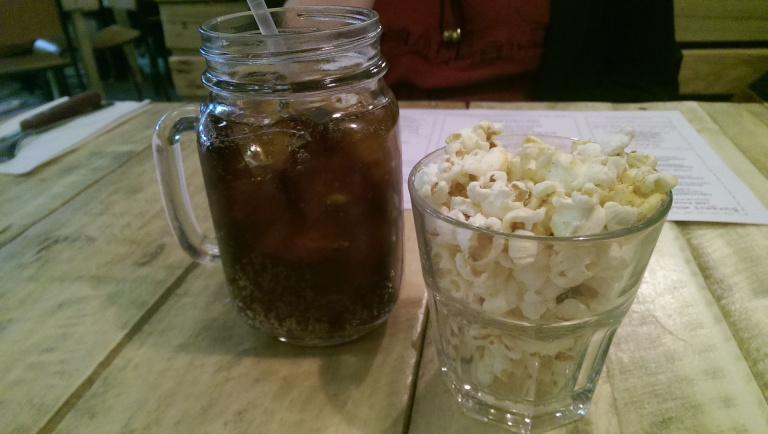Smoke BBQ Sheffield drink and popcorn