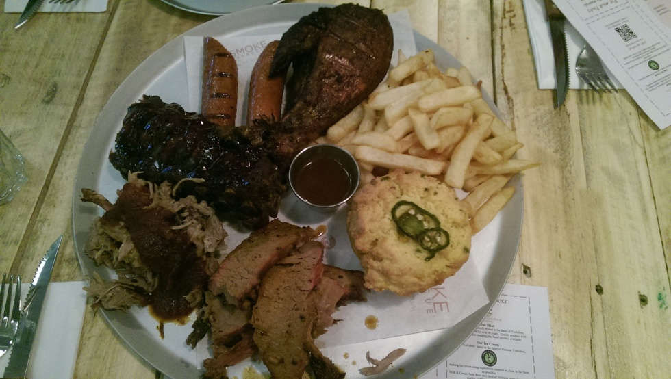 Sharer plate at Smoke BBQ Sheffield pulled pork beef brisket