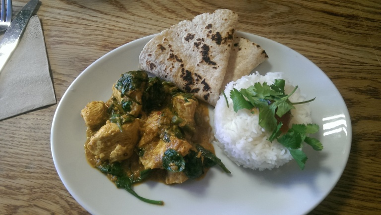 Chicken saag with basmati rice and chapati, £6.90.