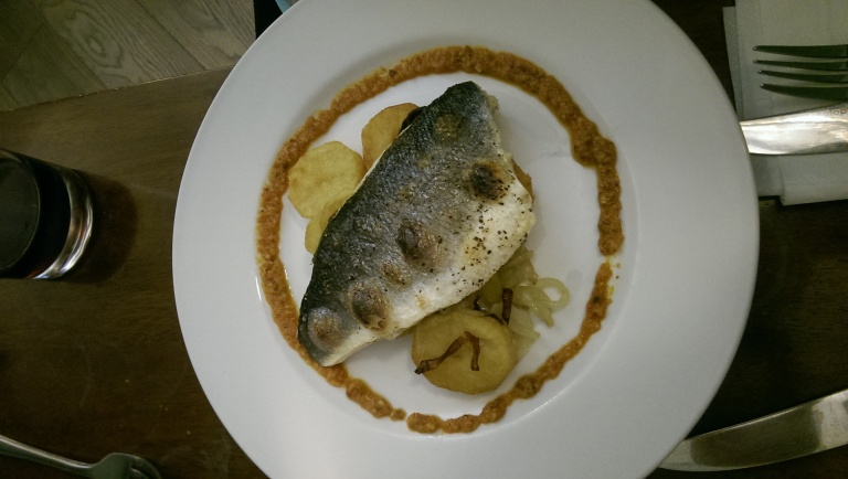 Grilled sea bass fillet.