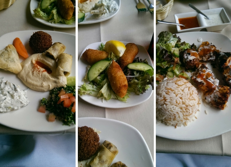 Mezze and shish taouk at Adiva, E1.