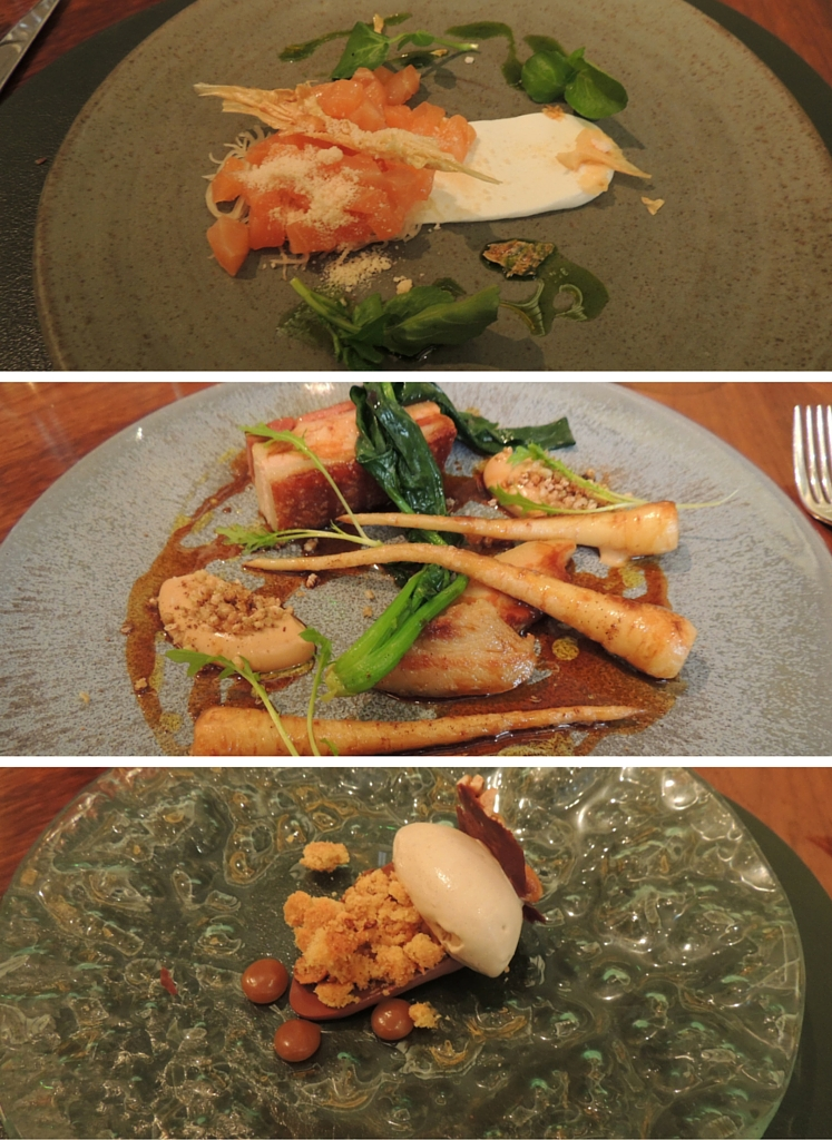 My three courses at fera, from the top: Duart salmon, Lake District pork belly and jowl, and smoked chocolate cream.