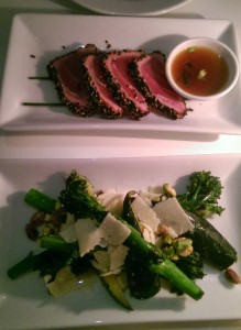 Amazing seared tuna and tasty crunchy broccolini at Ottolenghi, Islington