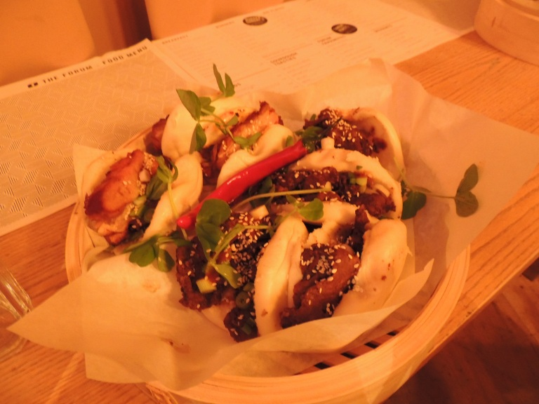 Steamed buns stuffed with bulgogi beef or kimchi pork belly.