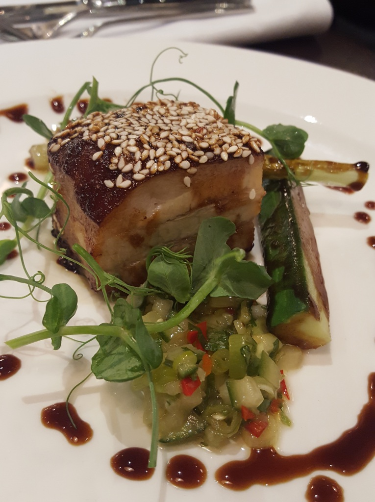 Honey and soy glazed pork belly, with a cucumber & spring onion salsa (£6).