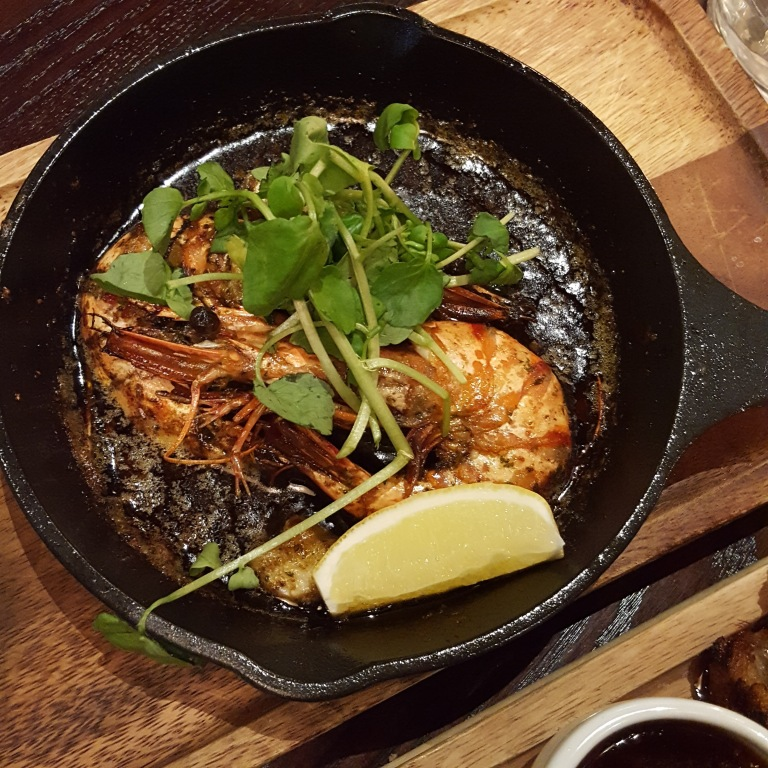Josper-grilled black tiger prawns with garlic and chilli (£6)