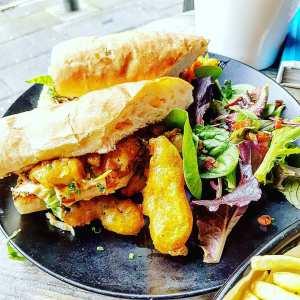 prawn po' boy sandwich at Pump + Grind Chesterfield