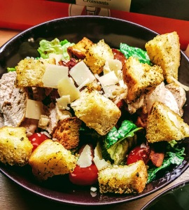 chicken caesar salad with homemade sourdough croutons
