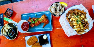 cutlery works sheffield: poutine from the gravy train, five rivers vietnamese chicken wings, edo sushi japanese tapas