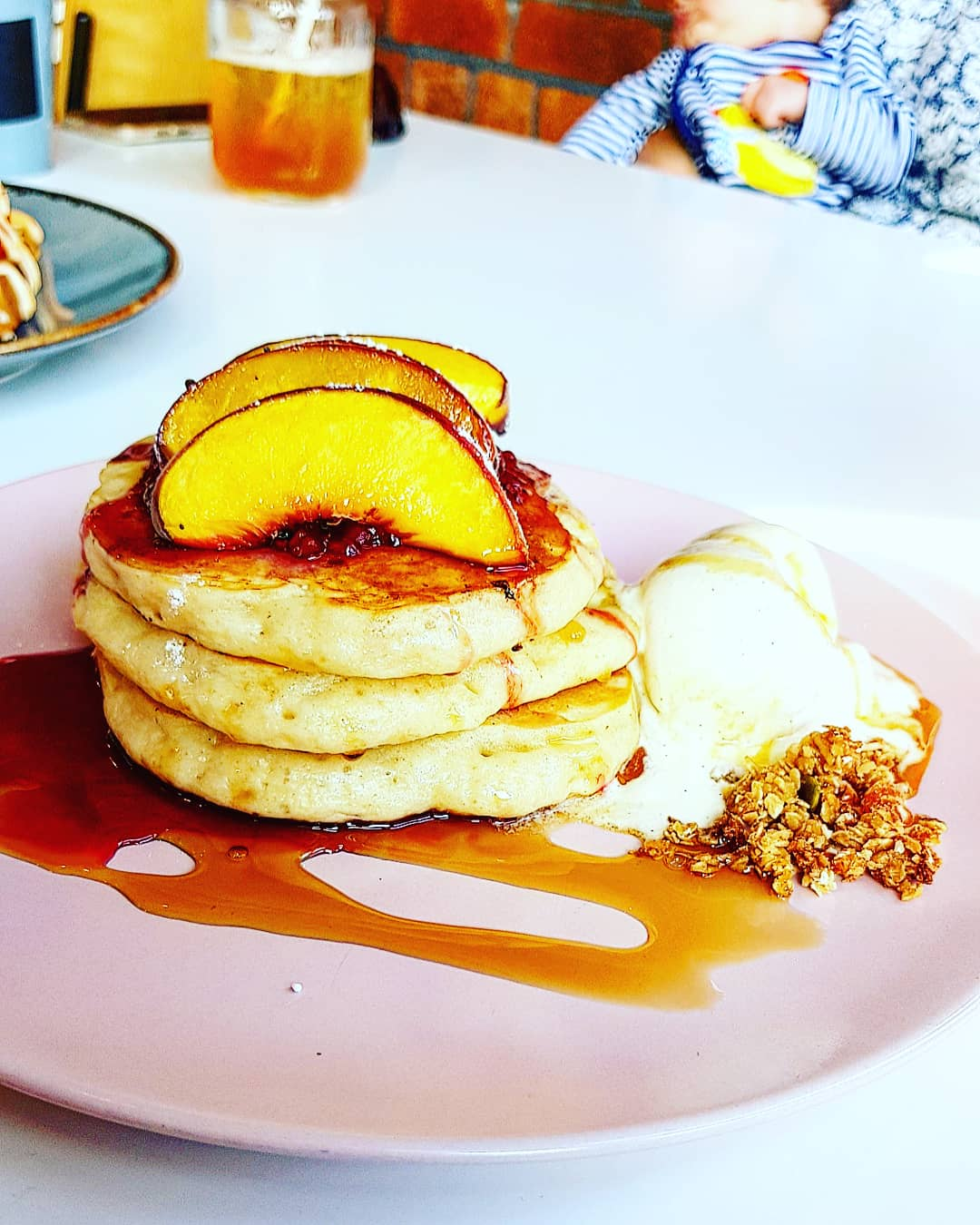 peach melba pancake stack at Birdhouse, Sheffield