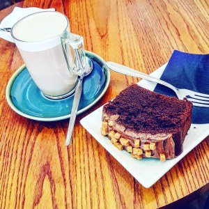 hot chocolate and homemade chocolate cake, Society coffee Chesterfield